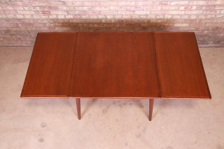 Oak Hans J. Wegner Danish Modern Teak Drop-Leaf Dining Table, Newly Refinished For Sale