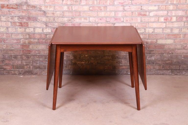 Hans J. Wegner Danish Modern Teak Drop-Leaf Dining Table, Newly Refinished For Sale 2