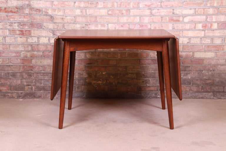 Hans J. Wegner Danish Modern Teak Drop-Leaf Dining Table, Newly Refinished For Sale 3