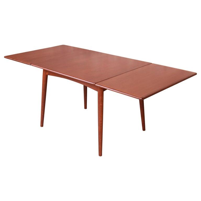 Hans J. Wegner Danish Modern Teak Drop-Leaf Dining Table, Newly Refinished For Sale