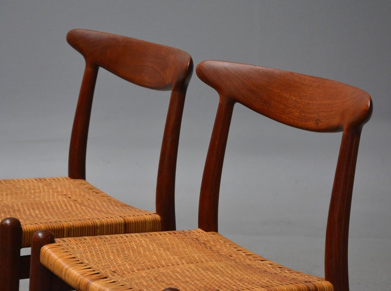 Danish Hans J. Wegner, Dining Chairs Model W2 'Set of 4', Teak and Patinated Wicker For Sale