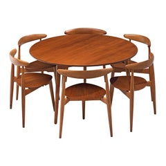 Hans J. Wegner Dining Set with Six Heart Chairs
