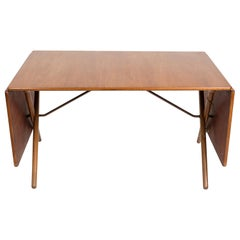 Hans J. Wegner Dining Table, Model AT304, Teak and Oak Foldable