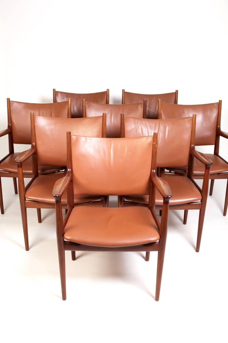 Scandinavian Modern Hans J. Wegner, Eight Armchairs JH513 For Sale