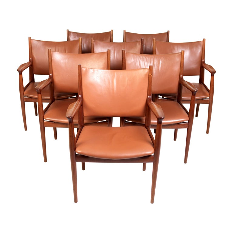 Hans J. Wegner, Eight Armchairs JH513 For Sale