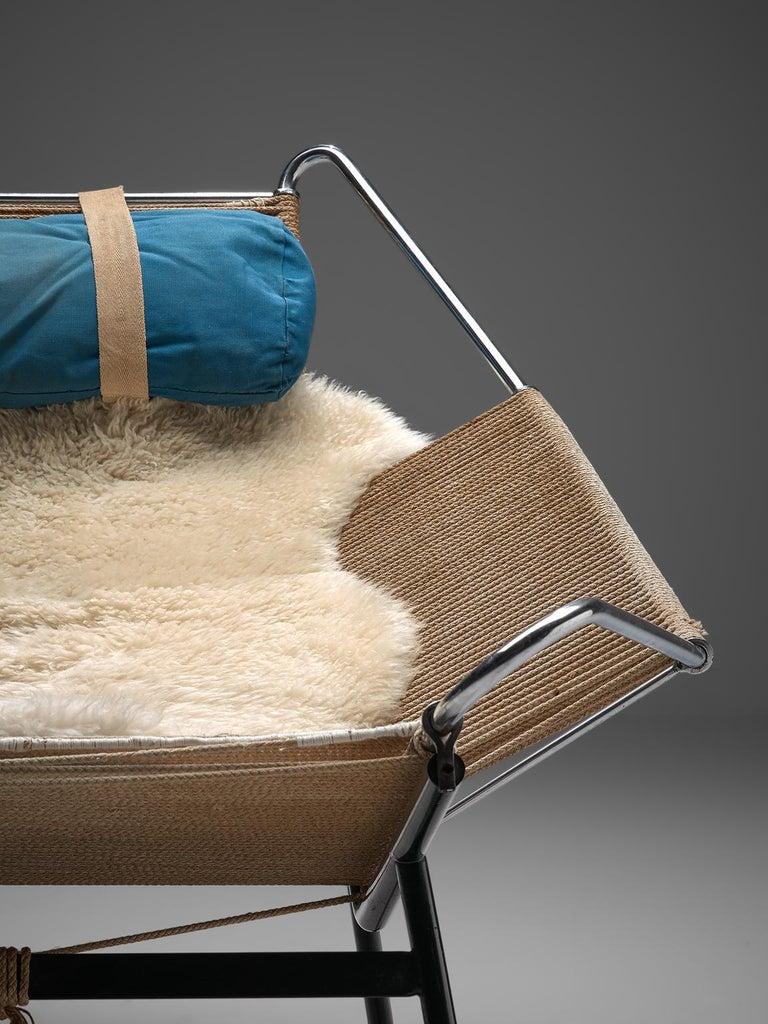Mid-20th Century Hans J. Wegner Flag Halyard Chair with Wooden Feet