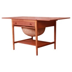 Hans J. Wegner for Andreas Tuck Teak and Oak Sewing Table, Newly Restored