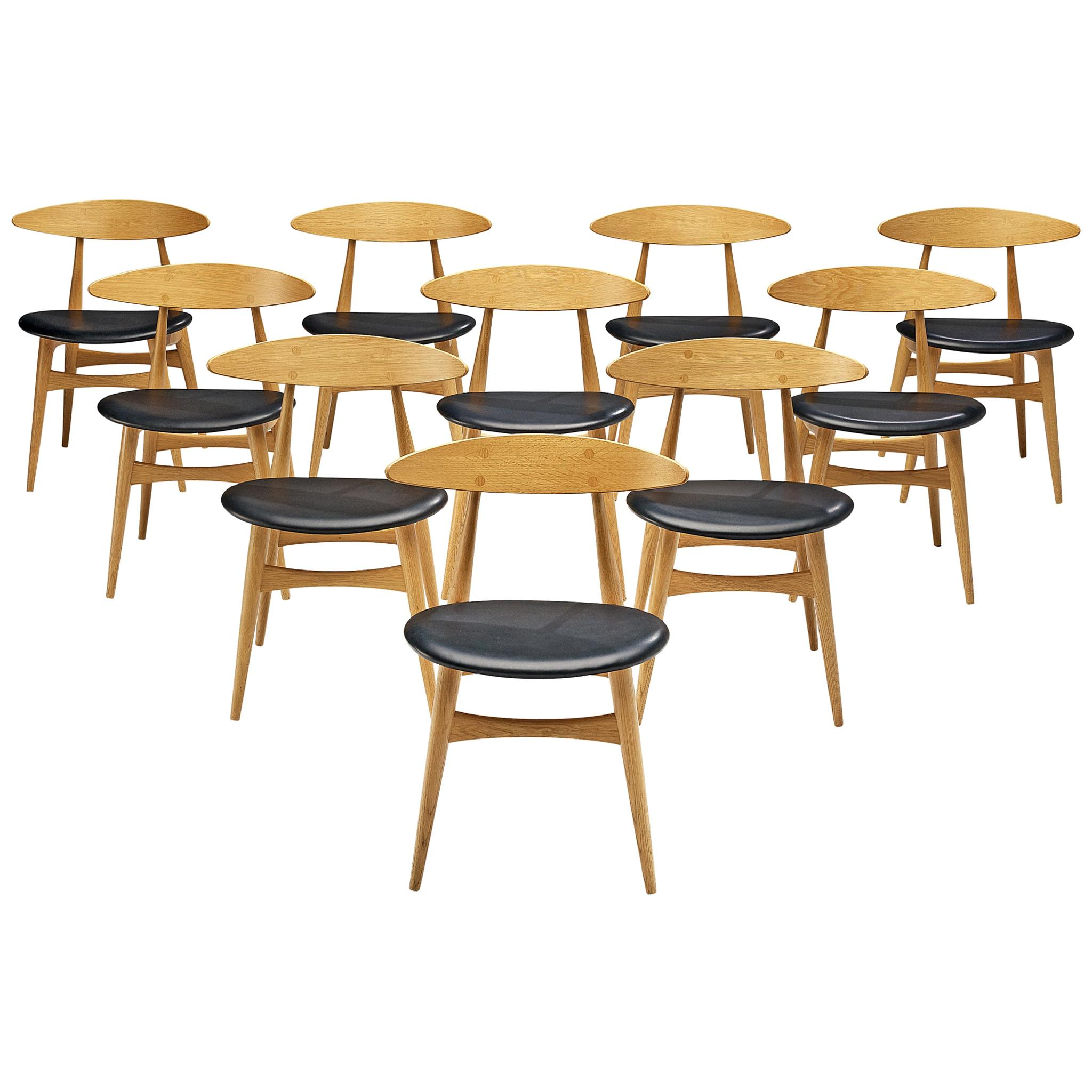 Hans J. Wegner for Carl Hansen & Søn Set of Ten 'CH 33' Dining Chairs