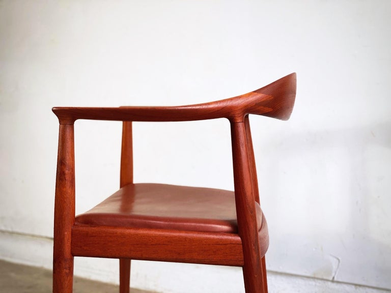 This beautiful Hans Wegner round chair in teak and cognac leather is overall excellent condition. Model JH-501 for Johannes Hansen is unmatched. Expertly crafted and highly comfortable its no wonder this chair is the most iconic Scandinavian chair