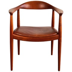 Hans J. Wegner for Johannes Hansen Teak and Cognac Leather Round Chair