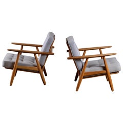 Hans J. Wegner GE 240 Oak Cigar Easy Chairs, 1950s