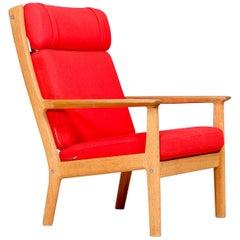 Hans J Wegner GE-265A Oak Lounge Chair by GETAMA, 1960s