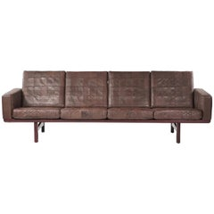 "Hans J Wegner ""GE236/4"" Sofa by GETAMA in Original Patched Leather Denmark 1950s"