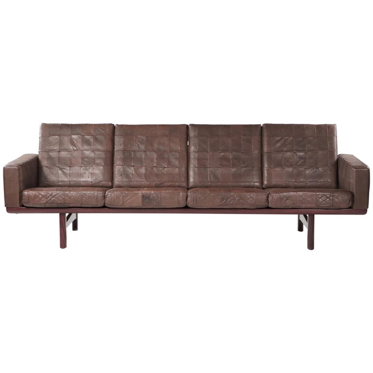 "Hans J Wegner ""GE236/4"" Sofa by GETAMA in Original Patched Leather Denmark 1950s For Sale"
