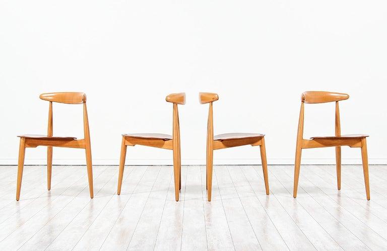 Mid-Century Modern Hans J. Wegner 'Heart' Dining Chairs for Fritz Hansen For Sale