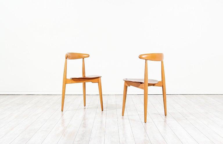 Mid-20th Century Hans J. Wegner 'Heart' Dining Chairs for Fritz Hansen For Sale