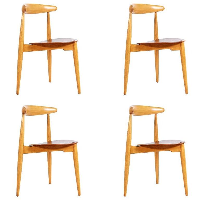 Hans J. Wegner 'Heart' Dining Chairs for Fritz Hansen For Sale