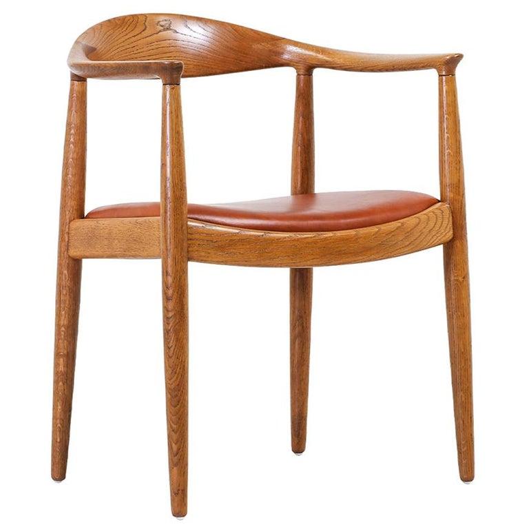 """Hans J. Wegner JH 501 """"Round"""" Oak Armchair for Johannes Hansen For Sale"""