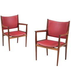 Hans J. Wegner JH-509 Walnut Arm Chairs for Johannes Hansen