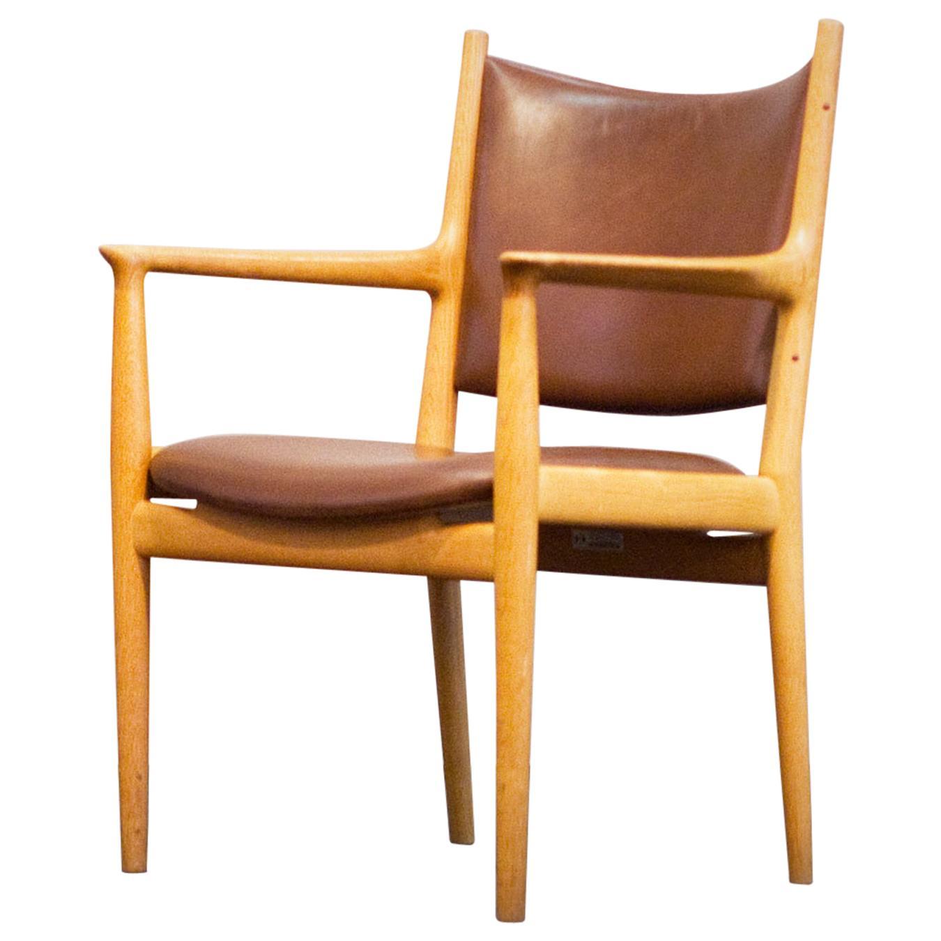 Hans J. Wegner JH 513 Chair by Johannes Hansen Oak Brown Leather Denmark