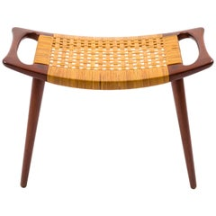 Hans J Wegner JH 539 Stool in Teak and Cane, Johannes Hansen, Signed, 1950s