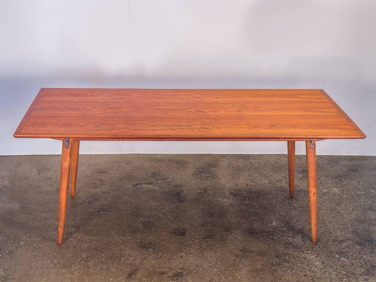 Scandinavian Modern Hans J. Wegner JH570 Teak Dining Table for Johannes Hansen For Sale