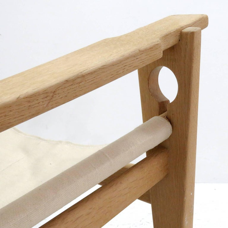 Linen Hans J. Wegner 'Keyhole' Rocking Chair, 1967 For Sale