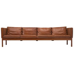 Hans J. Wegner Large Four Seat Sofa in Patinated Cognac Leather