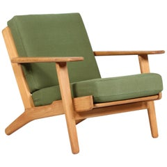 Hans J. Wegner Lounge Chair GE 290 of Oak and Green Wool by GETAMA, 1970s