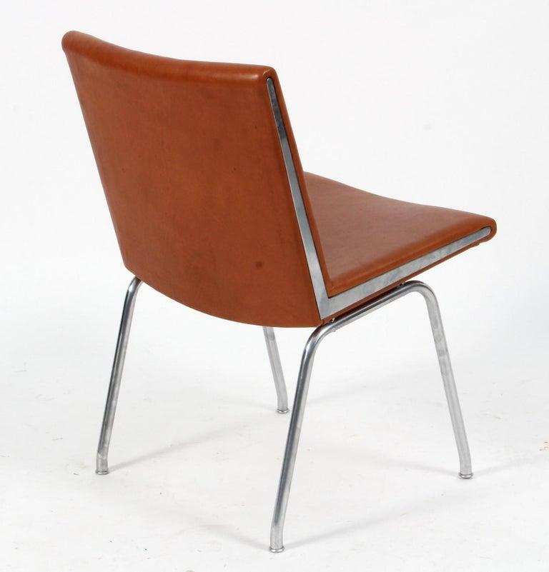 Scandinavian Modern Hans J. Wegner Lufthavnsstole Model AP38, Cognac Aniline Leather For Sale