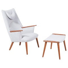 "Hans J. Wegner ""Mama Bear"" Lounge Chair with Ottoman for A.P. Stolen"
