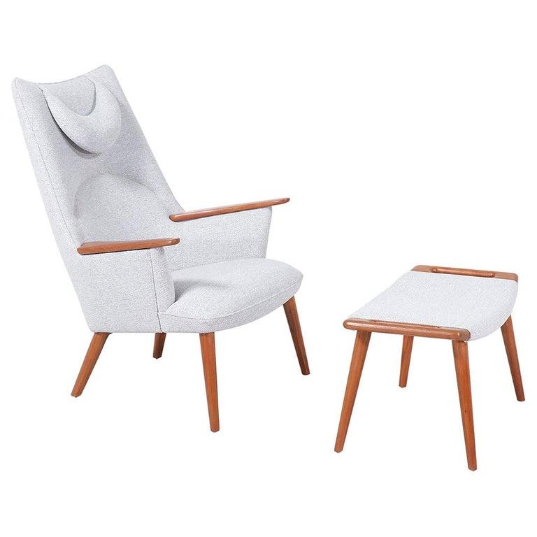 "Hans J. Wegner ""Mama Bear"" Lounge Chair with Ottoman for A.P. Stolen"