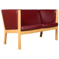Hans J. Wegner Model 285/2 Two-Seat Sofa, Indian Red Leather and Beech