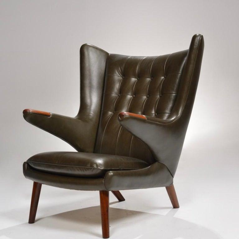 Mid-Century Modern Hans J. Wegner Model AP-19 'Papa Bear' Chair in Dark Green Leather For Sale
