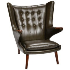 Hans J. Wegner Model AP-19 'Papa Bear' Chair in Dark Green Leather