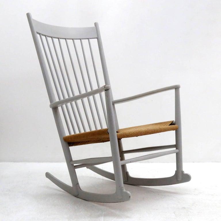 Scandinavian Modern Hans J. Wegner Model J16 Rocking Chair, 1961 For Sale