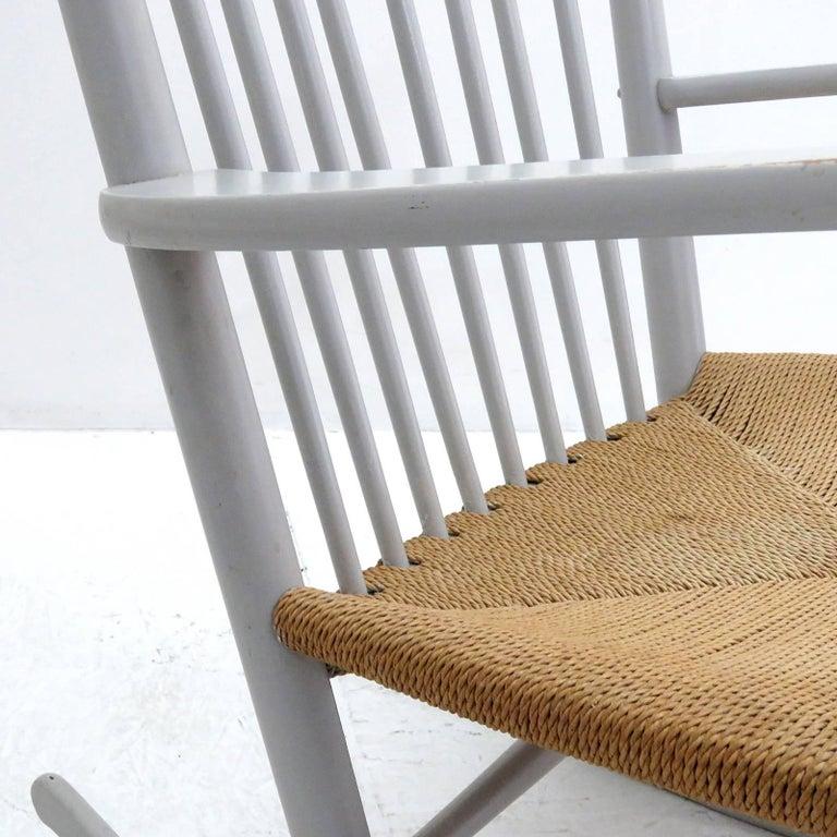 Papercord Hans J. Wegner Model J16 Rocking Chair, 1961 For Sale