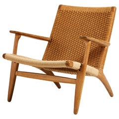 Hans J. Wegner, Oak and Cord Lounge Chair CH 25, Denmark
