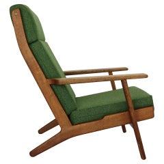 """Hans J. Wegner Oak & Green New Reupholstery Lounge/Armchair """"GE290"""" 1960 Denmark"""