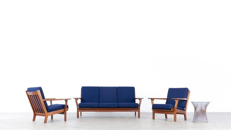 Here you have the opportunity to purchase an extremely rare lounge chair by Hans J. Wegner, designed in 1956 for GETAMA in Denmark. The stamped and handcrafted frame is made of teak.  GETAMA still produces many of Wegner's designs today, but not