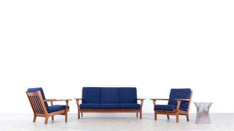 Fabric Hans J. Wegner, Original 1956, Lounge Chair Armchair GE-320 by GETAMA, Denmark For Sale