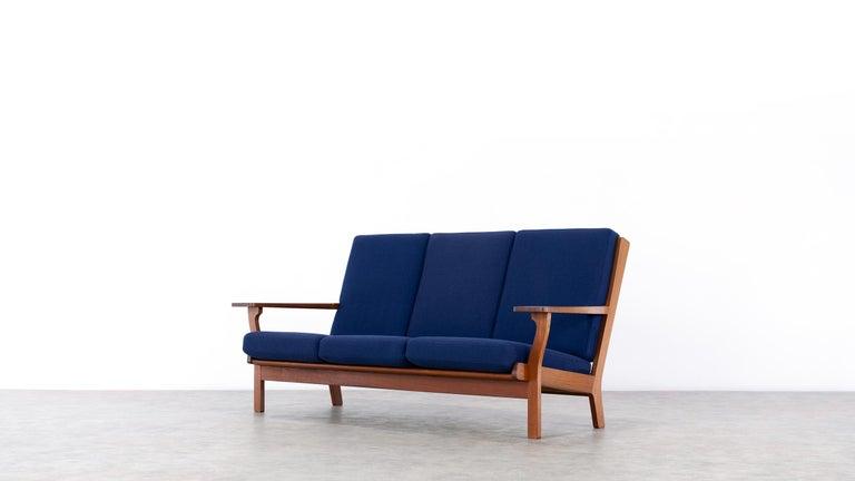 Danish Hans J. Wegner, Original 1956, Teak 3-Seat Sofa GE-320 by GETAMA, Denmark For Sale