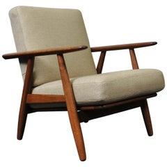 Hans J Wegner, Original GE240 Lounge Chair, Fumed Oak, New Upholstery