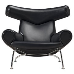 Hans J. Wegner OX 'King' Easy Chair in Black Leather
