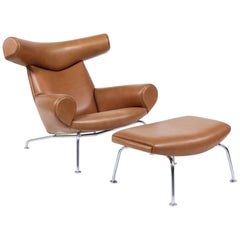 "Hans J. Wegner ""Ox"" Lounge Chair and Ottoman in Cohiba Leather, Erik Jørgensen"