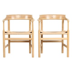Hans J. Wegner Pair of Armchairs PP 62 of Solid Oak by PP Møbler Danish Modern