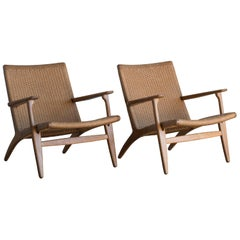 "Hans J. Wegner Pair of Easy Chairs ""CH 25"" for Carl Hansen"
