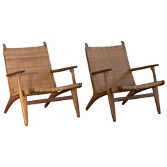 "Hans J. Wegner Pair of Easy Chairs ""Ch 27"" for Carl Hansen"