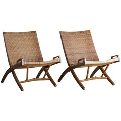 Hans J. Wegner Pair of Folding Chairs for Johannes Hansen