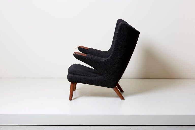 Scandinavian Modern Hans J. Wegner Papa Bear Chair in Black Fabric